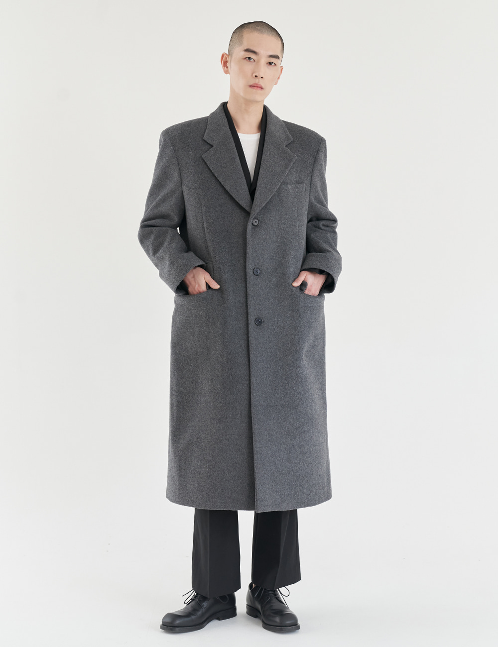 Kobi Cashmere Daddy Fit Long Coat / Grey